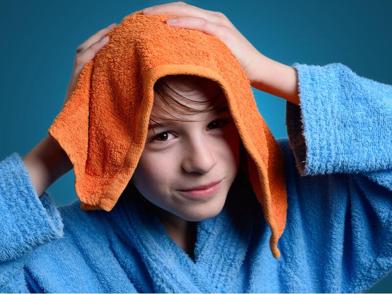 濡れた髪にはタオルキャップが便利!