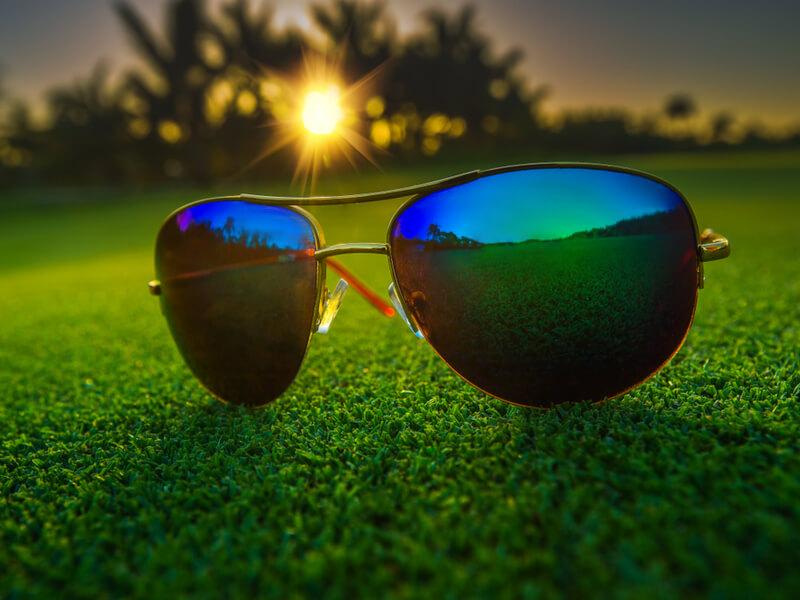 芝生の上にあるサングラス